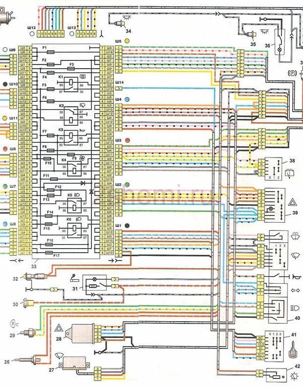 Схема электрооборудования ВАЗ-2104 (карбюратор, инжектор) с описанием