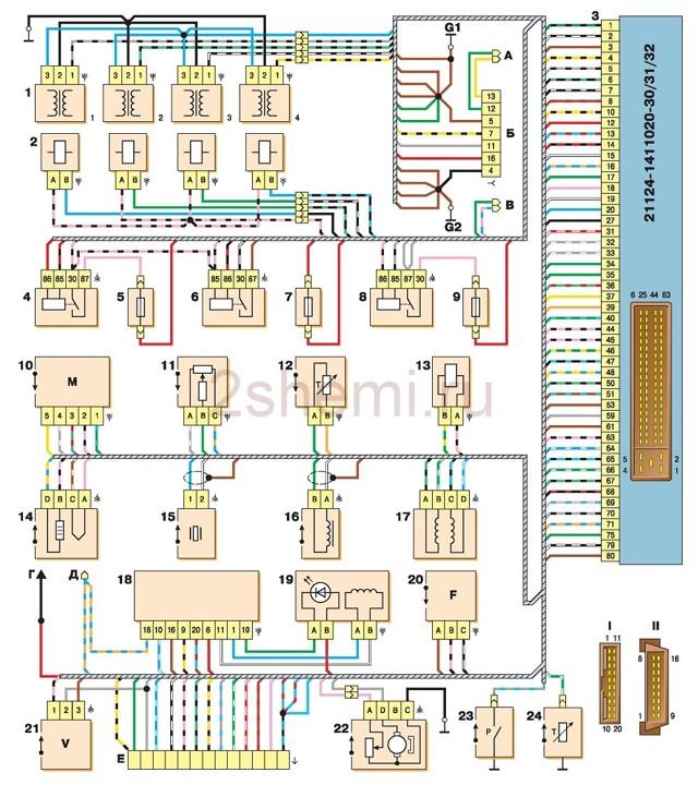 Схема электрооборудования ВАЗ-2112 с описанием: фото